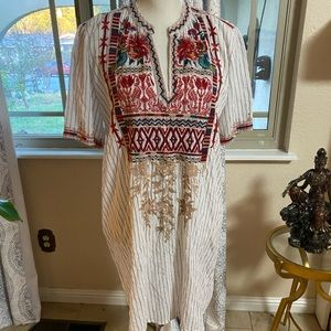 Johnny Was Tunic Blue Linen Embroidered M
